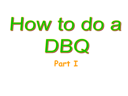 How to do a DBQ part I