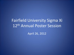 Fairfield University Sigma Xi 12th Annual Poster