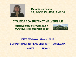 Melanie Jameson - Dyslexia International