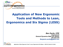 Lean Ergonomic Six Sigma Tools - Institute of Industrial Engineers