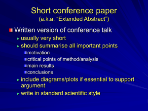 "Short conference paper (a.k.a. ""Extended Abstract"")"