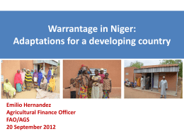 warrantage in niger: adaptations for a developing country presentation