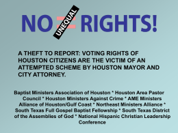 Baptist Ministers Association of Houston * Houston Area Pastor
