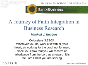 Faith Integration in Business Research