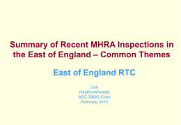 MHRA INspection Review for East of England RTC