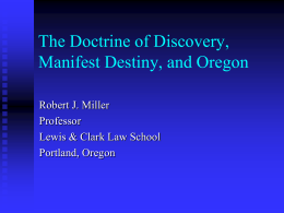 Doctrine of Discovery, Manifest Destiny, and Oregon