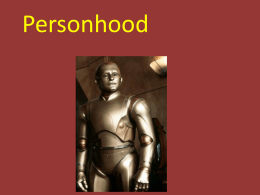 Lecture 7: Personhood