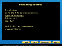 Evaluating Sources PowerPoint