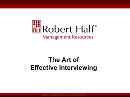 The Art of Effective Interviewing