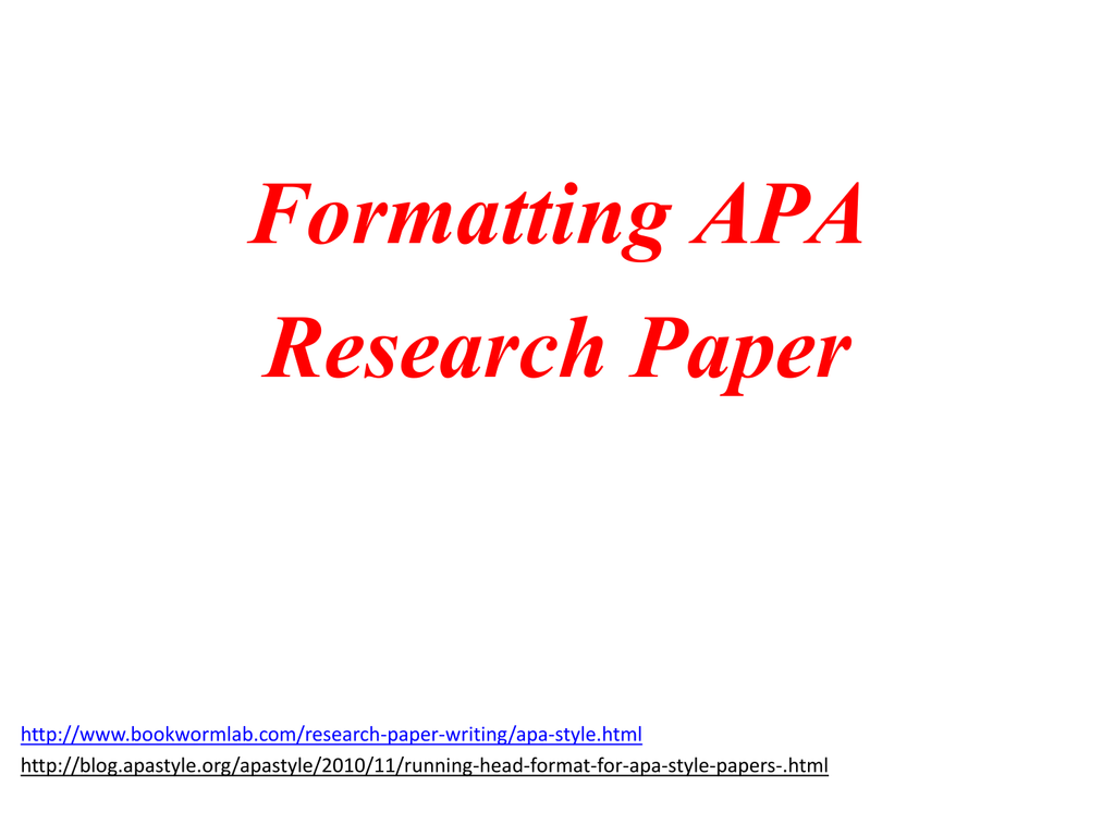 formatting apa research paper