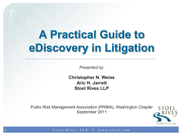 A Practical Guide To eDiscovery in Litigation