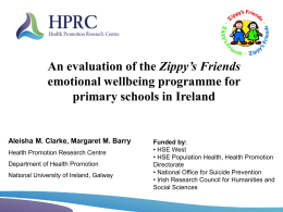 Evaluation of Zippy`s Friends - National Office for Suicide Prevention