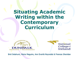 Situating Academic Writing within the Contemporary Curriculum
