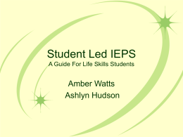Student Led IEPS A Guide For Life Skills Students