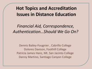Hot Topics and Accreditation Issues in Distance Education