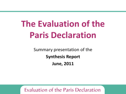 The Evaluation of the Paris Declaration