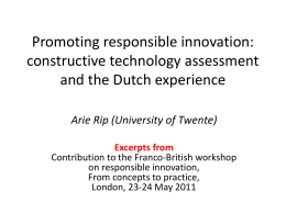 Promoting responsible innovation: constructive technology