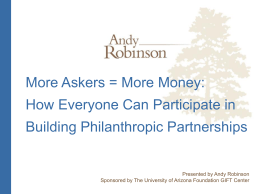 Askers = More Money - The University of Arizona Foundation