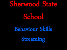 Sherwood State School Skill Streaming