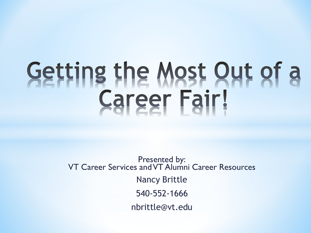 Getting The Most Out Of A Career Fair Slides PPT