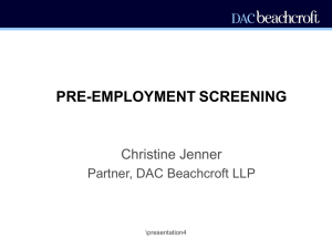 PRE-EMPLOYMENT SCREENING - Recruitment International
