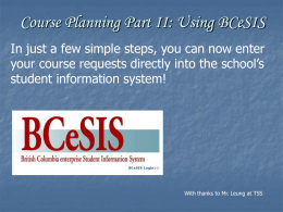 Course Planning Part II: Using BCeSIS