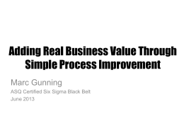 Creating Value through Process Improvment