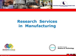 How to innovate? - Manufacturing Research Platform