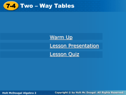 two-way table - School District 27J