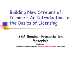 First Time Licensee –Basic Training