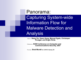 Panorama: Capturing System-wide Information Flow for Malware