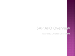 SAP SCM APO Overview