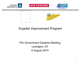 Supplier Improvement Program - Parachute Industry Association