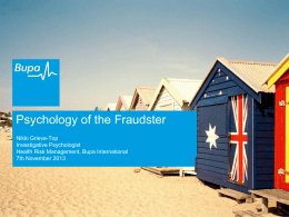 The Psychology of a Fraudster - Health Insurance Counter Fraud