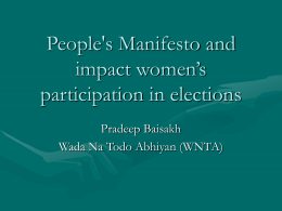 People`s Manifesto and impact women`s participation in elections