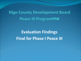 Presentation of Phase I Evaluation to Peace Partnership