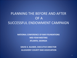 planning the before and after of a successful endowment campaign