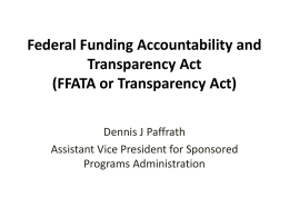 Federal Funding Accountability and Transparency Act (FFATA or