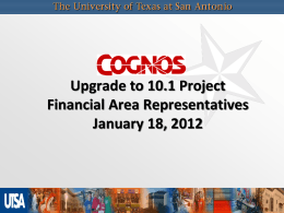 Cognos Reporting Project