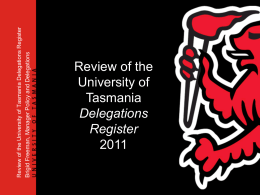Delegations Register - University of Tasmania