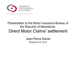 Presentation to the Motor Insurance Bureau of the Republic of