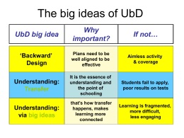 The big ideas of UbD