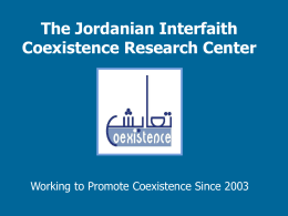 Letter of support - Jordanian Interfaith Coexistence Research Center