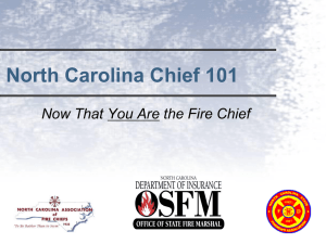 Now That You Are the Fire Chief - North Carolina Department of