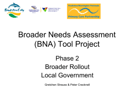 Broader Needs Assessment (BNA) Tool Project