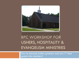 BPC Workshop for Usher, Hospitality & Evangelism Ministries