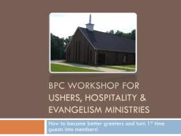 BPC Workshop for Usher, Hospitality & Evangelism Ministries