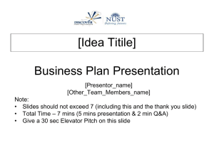 Concept Paper on IBA Business Plan Competition IBA-BPC
