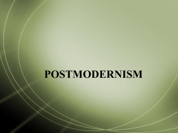 POSTMODERNISM AND EXPERIMENTALISM