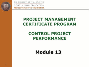 Module 13: Control Project Performance
